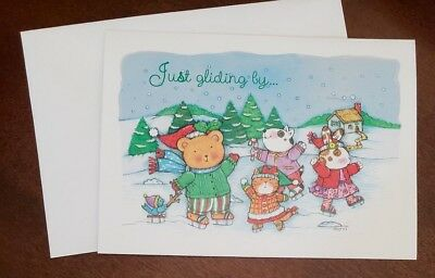 Darling Paper Magic Group Christmas Card w/envelope, animals ice skating