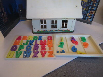 Vintage Fisher Price Little People School House And Alphabet Letters