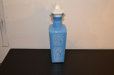 JIM BEAM BOTTLE 1965 Blue and white milk glass (empty) Antique Collectible