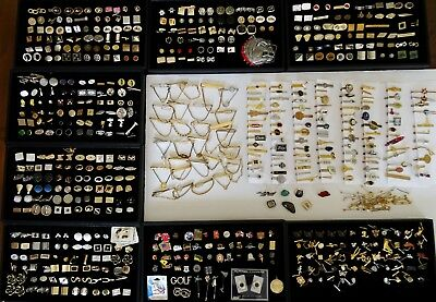 Huge Lot of Mens Jewelry Cufflinks Tie Clips Chains Tacks Pins Vintage 450pc