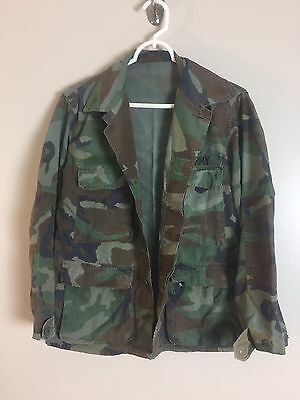 Military Camouflage Army Jacket Shirt Womens Size Large XL Button Front a Green