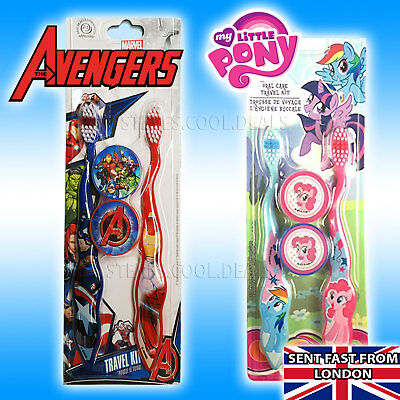 My Little Pony Avengers Firefly Kids Toothbrush Soft 2 Pack With Cap Travel set
