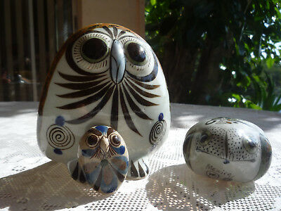 Vintage Ken Edwards Mexican Folk Art Pottery Two Owls & One Frog Lot Of 3!
