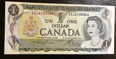 1973 Canada One Dollar Paper Money Bank Note  UNC - No Tax