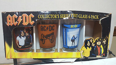 ( 3 ) GLASSES /  AC DC  COLLECTOR'S SERIES 16 oz Pint Glasses  /  NEW !!!