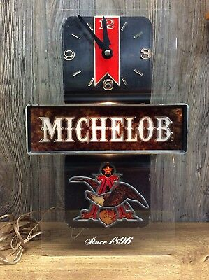 Vintage Michelob Beer Lighted Advertising Bar Pub Sign And Clock Works! H1
