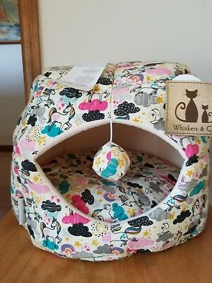 rainbows and unicorn convertible dog/cat bed/cave, with removable pillow, NWT