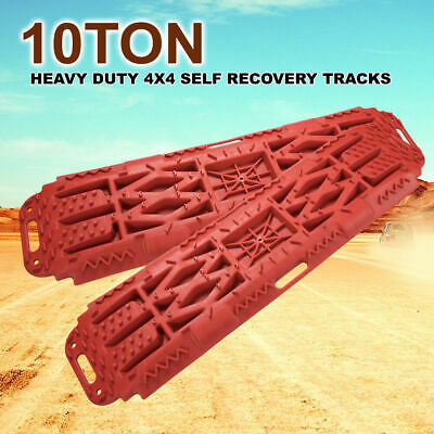 2x Off Road Recovery Tracks 10T 4x4 4WD Sand Track With Farm Jack Base RED