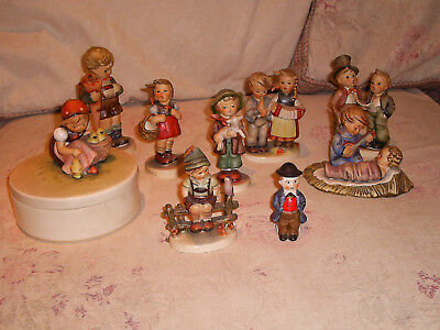 Lot of 8 Hummels & 1 Goebel-8 Figurines and 1 Covered Box - Excellent Condition