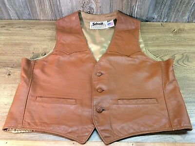 Vintage Schott NYC Authentic Cowboy Western Brown Leather Vest Men's XL H9