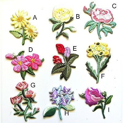 Flowers iron on patch Flower bloom flowering embroidery transfer iron-on patches