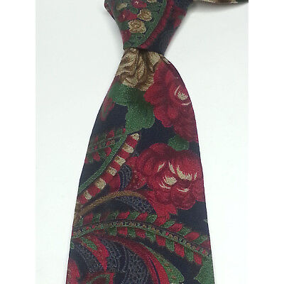 """Huntington Men Dress Tie Wool Blend Floral Print 3.75"""" wide 60"""" long Made in USA"""