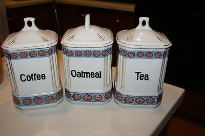 ANTIQUE Czech PORCELAIN kitchen 3 CANISTER SET  Tea Coffee Oatmeal