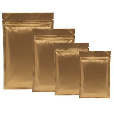 Resealable Gold Aluminum Foil Bags Cosmetics Powder Food ZipLock Pouches