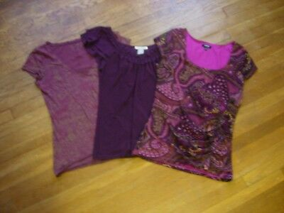 Lot Of 3 Womens Tops/shirts/blouses In Burgundy Tones - Assorted Brands Size M