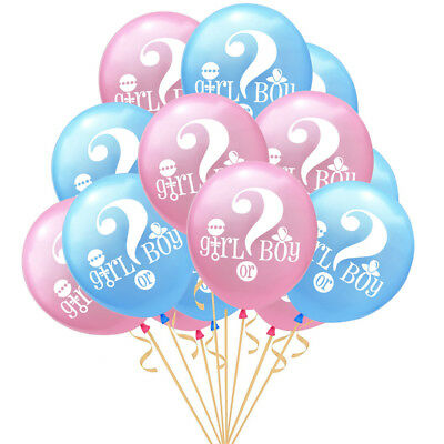 """10 Pcs 12"""" Baby Gender Reveal Pink/Blue Latex Balloon Baby Shower Party Supplies"""