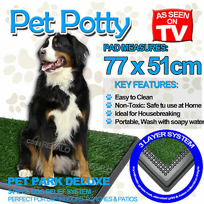 Indoor Dog Pet Potty Training Portable Toilet Large Loo Pad Tray 1 / 2 Grass Mat