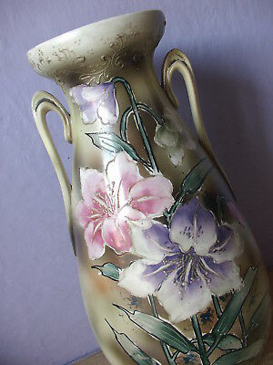 "Antique 1800's Victorian Hand painted pink purple flowers 13"" porcelain Vase"