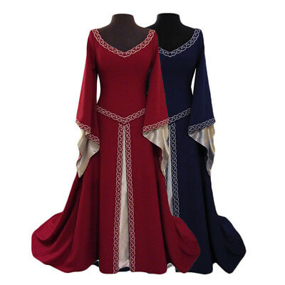 Medieval Renaissance Women Princess Gown Party Long Dress Costume Navy Blue