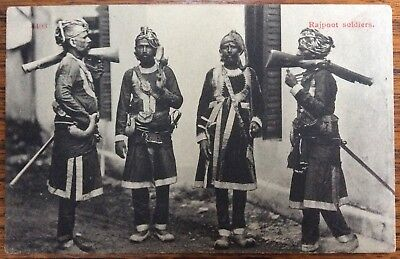 Antique Pc Portrait Of Four Rajpoot Soldiers In Uniform Guns,swords Powder Flask
