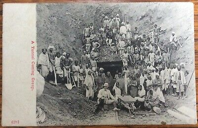 Antique Pc British Colonial Seated With Indian Tunnel Cutting Group Behind 4281