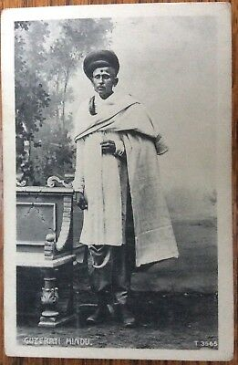 Antique Pc Portrait Of Gujarati / Guzerati Indian Man In Traditional Dress 1905