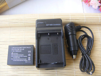 Battery + Car&Home Charger for Fujifilm NP-W126 FinePix HS30EXR X-A1 X-M1 X-Pro1