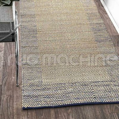 PRIYANKA BLUE HAND WOVEN NATURAL JUTE & DENIM FLOOR RUG RUNNER 80x300cm **NEW**