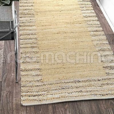 PRIYANKA BEIGE HAND WOVEN NATURAL JUTE & COTTON FLOOR RUG RUNNER 80x300cm **NEW*