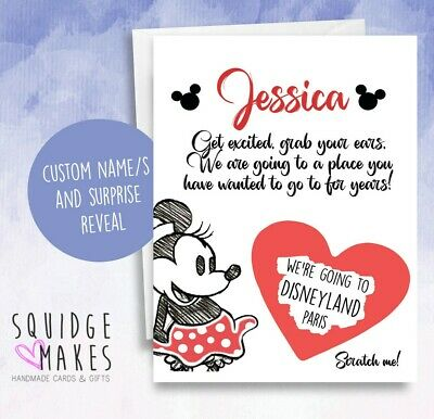 we're going to disney scratchcard surprise card Personalised name minnie mouse