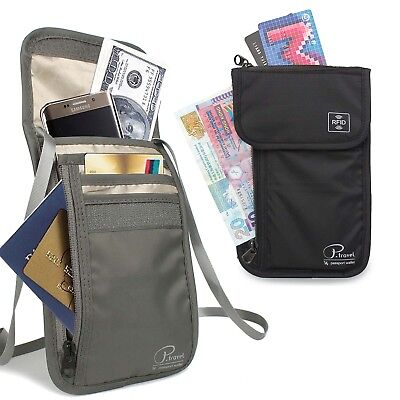 RFID Blocking Passport Holder Bag - Neck Stash Pouch & Security Travel Wallet