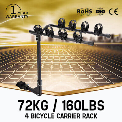 4 Bicycles Carrier Bike Rack For 2inch Car Rear Towbar Hitch Mount 160LBS Max