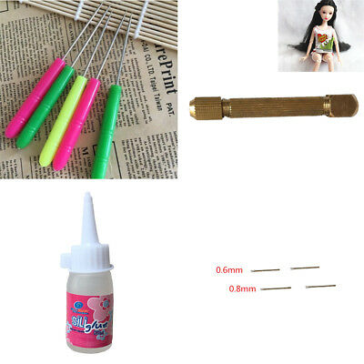 1 Set Doll Hair Rooting Reroot Rehair Tool Holder With Extra Needles For Barbie