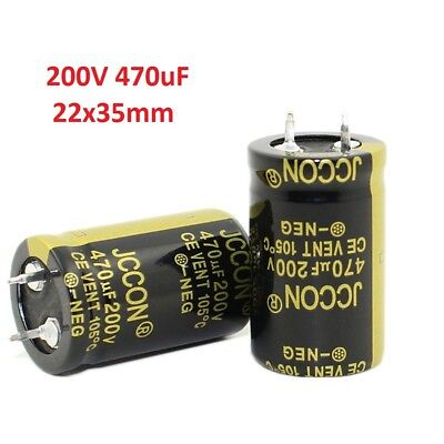 1PC 470uF 200V Amplifier Audio Power Filter Electrolytic Capacitor 105°C 22x35mm