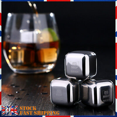 2/4/8 Pcs Stainless Metal Ice Cubes Whiskey Stones Beverage Cooler Drink Chiller