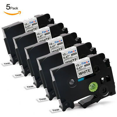 5PK TZe231 TZ231 Black on White Label Tape Compatible for Brother P-Touch PT1000