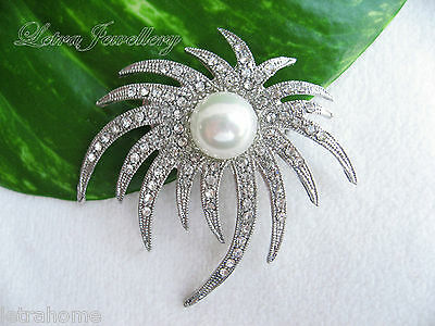 Vintage White Freshwater Pearl Platinum Plated Flower Firework Brooches Corsage