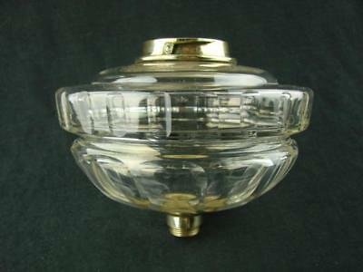 Hinks Victorian Lge Clear Glass Oil Lamp Font, Facet Decor, Bayonet Fit Collar