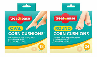 18 Oval/ 24 Round Corn Foam Cushion Pads Adhesive Protective Ring Plasters Foot