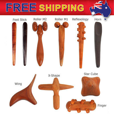 Thai Massage Wood for Healthy Stick Roller Hand Foot Spa Therapy Reflexology AU