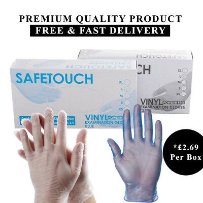 SAFETOUCH Disposable Clear & Blue Vinyl Powder & Latex Free Gloves 100 200 Cheap