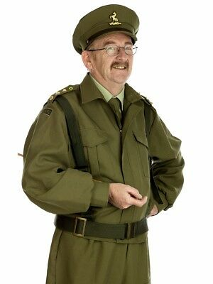 Captain Mainwaring British Home Guard Officer Costume WW2 Soldier Fancy Dress -M