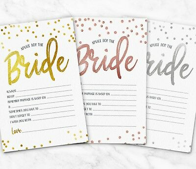 10x Advice for the Bride Cards To Hen Party Games ~ Bridal Shower Wedding