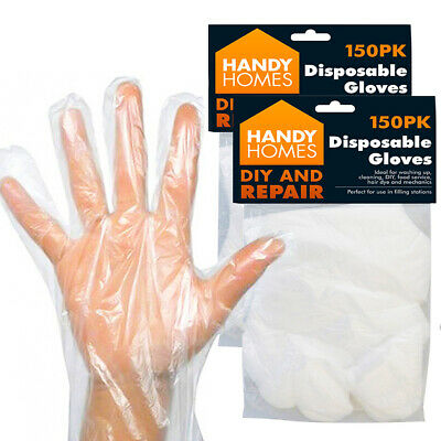 150 Disposable Plastic Gloves Polythene Catering Hairdressers Butchers Food Prep