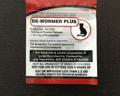 Generic dewormer plus for cats - 6 capsules Generic Bayer Dewormer USA Seller