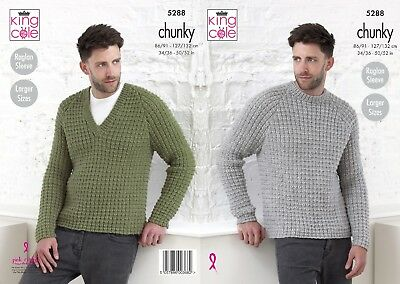 KINGCOLE 5288 Mens Chunky KNITTING PATTERN 34-52 INCH -not the finished garments