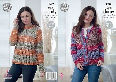 KINGCOLE 5030 Super Chunky KNITTING PATTERN 28-46INCH -not the finished garments