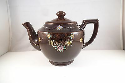 VINTAGE MADE IN Occupied Japan Redware Teapot Flowers