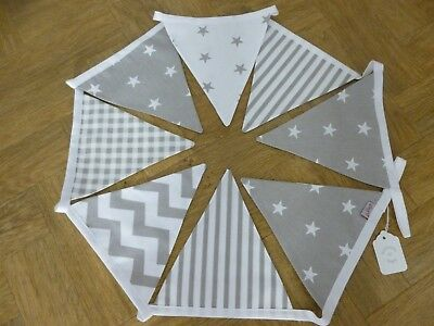 BUNTING 2 Mtr. Grey/White Star/Gingham,Stripe/Chevron  -Baby, Nursery, Gift- NEW