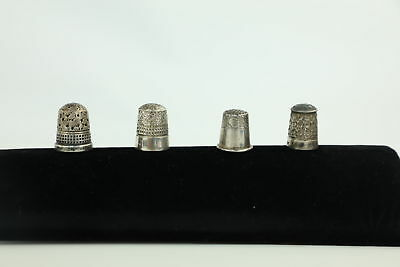 4 x Vintage Hallmarked Solid Silver Thimbles Mixed Inc. Charles Horner -22g